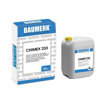 Cement-Acrylic Based, Two Component, Flexible, UV Resistant, Waterproofing Material - CHIMEX 233